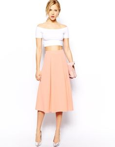 ASOS Midi Skirt in Scuba With Full Pleats  Instead of middrift top- longer white off the shoulder top with a gold waist belt