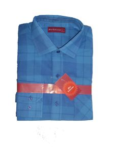 Blue Large Check Collared Cotton Shirt