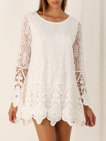 white long sleeve lace dress, lace crochet dress, little white floral dress - Crystalline