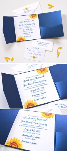Soo pretty! Watercolor Sunflower Blooms Pocket Folder Invitations perfect for a fall wedding. Now available! Completely customizable. - www.mospensstudio.com