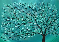 Whimsical Tree Art | Teal & Turquoise Tree - by Louise Mead from Whimsical Birds & Trees