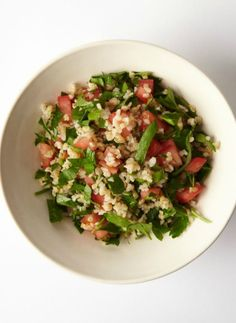 Tabouleh. Taboule is a Middle Eastern bulgar wheat salad which is served cold and is a great substitute for your regular starchy side-dish. It needs to chill at least an hour before serving so all the flavors blend together.