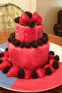 More paleo birthday cake ideas. Mainly using fruit like water melons or pineappl. More paleo birthday cake ideas. Mainly using fruit like water melons or pineapples and decorating w Healthy Birthday Cakes, Fruit Birthday Cake, Healthy Cake, Watermelon Birthday, Healthy Desserts, Patisserie Vegan, Fresh Fruit Cake, Fruit Cakes, Dessert Aux Fruits