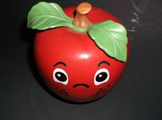 Fisher Price  Happy Face Apple Red Musical Chime Short Stem Baby Toy 1972 #FisherPrice