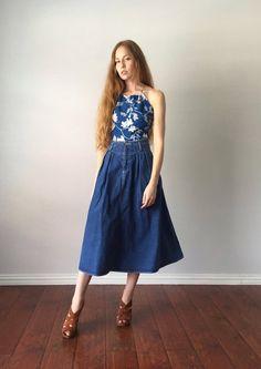488caacbbd3 Vintage 1980s Skirt   Jean High Waist Circle Skirt   80s Midi Skirt   Liz  Wear   Size M Medium