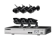 A home security system with 3 wireless (HD 720p) and 3 varifocal (HD 1080p) security cameras