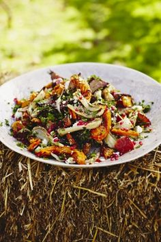 This harvest salad recipe is a wonderfully autumnal dish that includes delicious seasonal vegetables and an aromatic, flavoursome dressing.