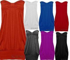 New Womens Plus Size Bandeau Boob Tube Tops Long Vest Tunics