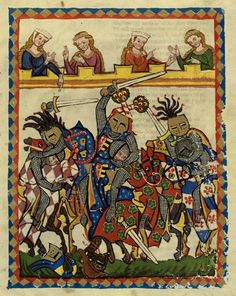 From the Codex Manesse, a Liederhandschrift (medieval songbook), the single most comprehensive source of Middle High German Minnesang poetry, written and illustrated ca. 1304.