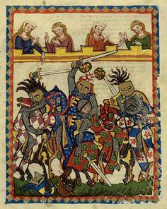 Tournoi à l'épée, enluminure du Codex de Manesse