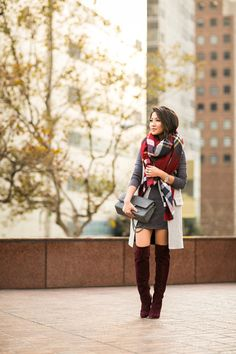Cozy :: Burgundy boots & Oversized scarf