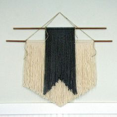 Two Tier Handmade Grey and Cream Macramé Wall Hanging by TheWov