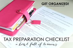 How to organize your taxes & a free tax preparation checklist via A Bowl Full of Lemons #taxorganization #taxes #organized