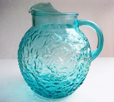 I remember pouring kool-aid from this cool pitcher. Water Pitchers, Glass Pitchers, Vintage Dishes, Vintage Glassware, Aqua Glass, Glass Vessel, Kool Aid, Wedding Vintage, Glass Photo