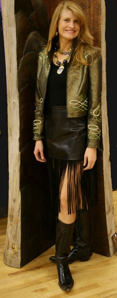 Green Embroidered Jacket and Fringed Black Skirt   Meredith Lockhart Collections