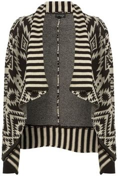 Knitted Cream Aztec Jacquard Waterfall Cardigan - New In This Week - New In - Topshop USA - StyleSays