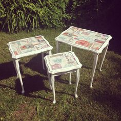 Vintage Nest Of 3 Tables With Cabriole Queen Anne Legs £100