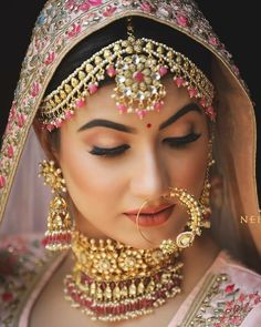 Perfect finishing to a bridal look is given by stunning nose rings! Book the best makeup artist now with BookEventZ to get the perfect bridal look on THE DAY! Indian Wedding Makeup, Bridal Eye Makeup, Indian Wedding Bride, Indian Bridal Outfits, Bridal Makeup Looks, Bride Makeup, Bridal Looks, Indian Makeup, Arabic Makeup