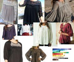 Peasant blouse/boho blouse inspirations.