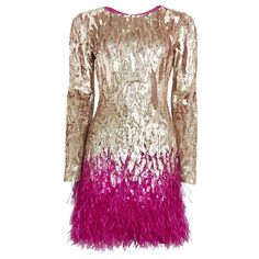 Matthew Williamson Liquid Sequin Feather Trimmed Mini Dress (47 055 SEK) ❤ liked on Polyvore featuring dresses, vestidos, short dresses, gold, embroidered dress, sleeve dress, animal print cocktail dress und sequin mini dress