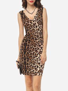 V Neck Dacron Leopard Bodycon Dress - fashionmeshop.com