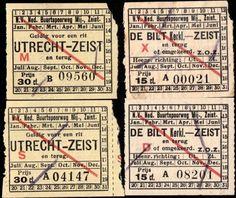 4 Vintage Utrecht-Zeist-De Bilt Netherlands Tram Tickets