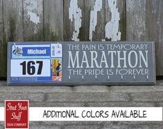 Medals and bibs display - Marathon - running medals and race bibs holder - running medals and race bibs hanger - Pain is Temporary Pride