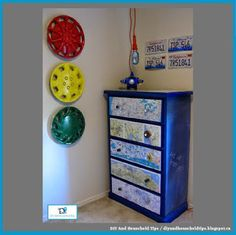 DIY And Household Tips: Map Dresser And Hub Cap Wall Art