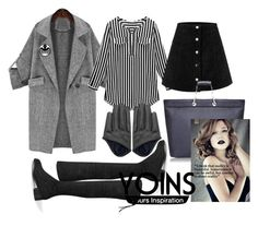 """""""Spectre"""" by geekyfashionblog ❤ liked on Polyvore featuring blackandwhite, grey and yoins"""