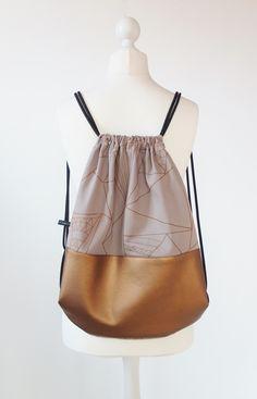 Turnbeutel mit Kupferornamenten, Festivalaccessoire / gym bag with copper made by goldfaden-berlin via DaWanda.com