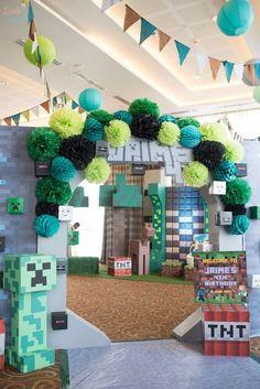 Entrance arch from a Minecraft Birthday Party on Kara's Party Ideas 9th Birthday Parties, Minecraft Birthday Party, Birthday Party Games, Birthday Crafts, Party Crafts, 8th Birthday, Mine Craft Birthday, Pokemon Birthday, Turtle Birthday