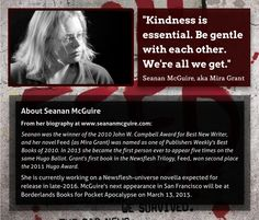 "Kicking off my ""Between the Lines: Interviews with authors"" series with the undead! SF author Mira Grant, aka Seanan McGuire, gives women writers some meaningful advice..."