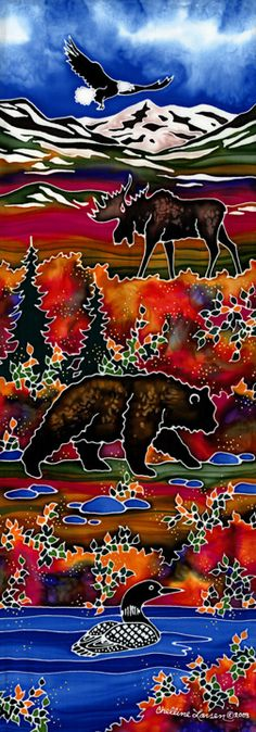 This is so rich a reflection of my northern roots, from loon to moose, lake to fir.  (Silk painting by Chelline Larsen)