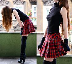 Arafeel.Com Red Plaid Skirt, Arafeel.Com Black Arm Warmer, Arafeel.Com Black Long Socks, Arafeel.Com Back Top, Arafeel.Com Clip On Earrings, Asos Leather Heels