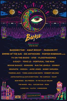 Buku 2015 - Bassnectar, Asap Rocky, Passion Pit, Empire of the Sun, Die Antwoord, Flosstradamus, Tove Lo, Portugal the Man, Gramatik, Odesza...