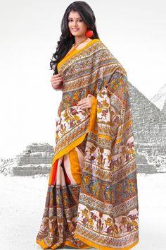Off-white and Gamboge Orange Cotton Silk Printed Casual Saree Sku Code:293-4047SA254379 $ 21.00