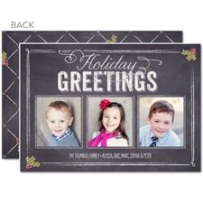 Holly Blackboard Holiday Cards