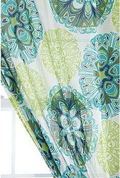 $39  curtain drape Gorgeous. lime greens aqua peacock