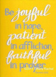 Art - Be Joyful, Be Patient, Be Faithful - Original 9x12 Painting - Yellow