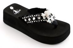 Black skull and rhinestone strap wedge flipflops..so cute to just slip on and go…<3