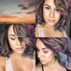 Playa Hermosa in Costa Rica inspiration image top left corner from my constant muse @melissasmoments using #metallicmuse @joicointensity all five shades Moonstone, Violet, Bronze, Mauve Quartz, Pewter and a custom mix of Sky + Mermaid Blue over previously shades of Pink direct dye also by @joicointensity ... I did NOT Bleach I went directly over with the new shades to create this look. In her hair she also had varied levels of hair color ranging from 7-10 making for a beautifully organic…