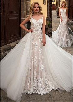 [208.50] Alluring Tulle & Lace Sheer Jewel Neckline 2 In 1 Wedding Dress With Lace Appliques & Belt - dressilyme.com