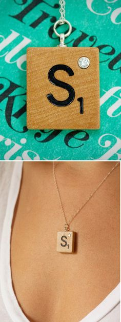 Scrabble Monogram Necklace with diamond / http://www.prettywhizbang.com/