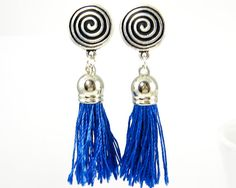 Blue Tassel Clip on Earrings with Silver by BeautifulByCharlene