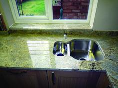 Top blue pearl granite price exclusive on homeeideas.com Countertop Backsplash, Granite Tile, Granite Kitchen, Granite Countertops, Blue Pearl Granite, White Cabinets, Downlights, Home Kitchens