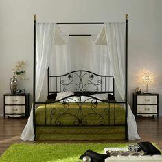 lit baldaquin deco chambre vert blanc