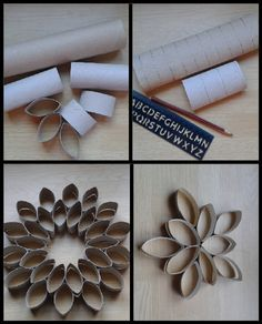 Centro de mesa para navidad con tubos de cartón. Toilet Roll Craft, Toilet Paper Roll Art, Paper Wall Art, Toilet Paper Roll Crafts, Cardboard Crafts, Paper Towel Roll Crafts, Paper Quilling For Beginners, Egg Carton Crafts, Paper Flowers Craft