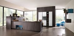 Alno new modern front in Caruba. Kitchen cabinet line called AlnoStar Satina and Smartline.