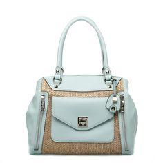 Summer blue and straw handbag.