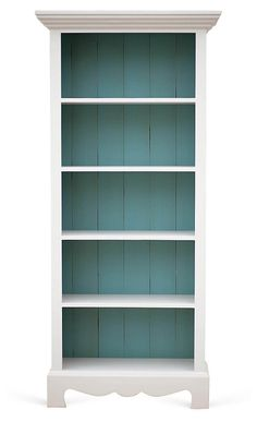 So simple. Just really love the turquoise color inside the shelves. Nice way to add color